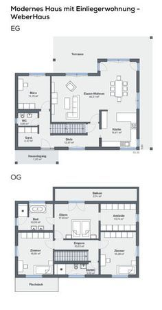 Grundriss Einfamilienhaus Mit Garage Einliegerwohnung In Hanglage 7 Zimmer 260 Qm Wfl Grundriss Einfamilienhaus Haus Grundriss Haus Mit Einliegerwohnung