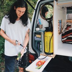 Check out our 'Kitchen & Bathroom Solution' . This is the water supply we have in our van Rudi  . With the 8 liters 'pump-tank' it works great for doing the dishes, cleaning vegetables or fruits and also for some necessary bathroom activities... it's even possible to take a little shower . We added a little cabinet to store necessary things, a mirror and a pull out sink. How do you like this solution? If anyone has some upgrade ideas , let us know .