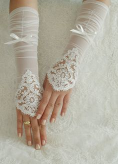 Wedding Gloves ivory lace gloves Fingerless Gloves by WEDDINGHome, $32.00