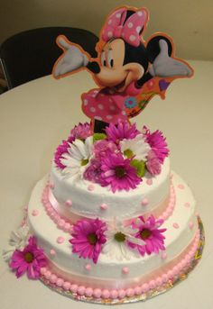 minnie mouse cake | minni mouse cake with fresh flowers