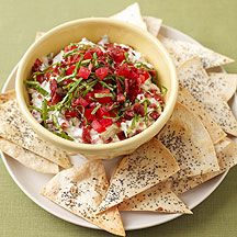 WW BLT Dip with Poppy Seed Tortilla Chips:  8 servings, 4 Points+ per serving