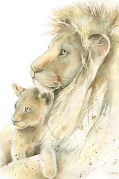 Lion Father and Cub watercolor print, Father and son or father and daughter, lion watercolor painting nursery art Nursery Paintings, Animal Paintings, Nursery Art, Animal Drawings, Lion Cub Tattoo, Cubs Tattoo, Tattoo Baby, Watercolor Lion, Watercolor Animals