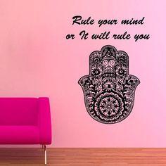 Rule Your Mind Indian Hamsa Hands Lotus Mandala Om Sign Design Home Vinyl Sticker Decor Sticker Decal size 22x26 Color