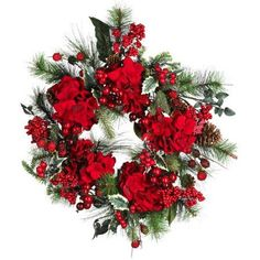 Nearly Natural Hydrangea Wreath, Multicolor