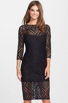 Hailey Adrianna Papell Geo Lace Midi Sheath Dress sz 6  Black Illusion NWT $199 #HaileybyAdriannaPapell #Sheath
