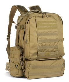 There are three utility compartments; one flat front internal compartment and two external zippered compartments on both sides of the pack. The padded back panel opens for storage of a laptop or a hydration bladder. Externally, the bag also has 4 compression straps, three reinforced drag handles and three hydration tube port holes. The Diplomat is the ultimate bug-out bag or three-day bag.