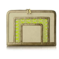 Poupee Couture Frame Clutch - Gold, White Crochet and Neon Yellow found on Polyvore