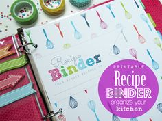 Recipe Binder Organizer PDF Printable Planner Pages - INSTANT DOWNLOAD - Recipe Book, Whisk pattern Rich Tones
