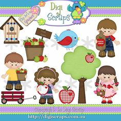 Apple Fritter Kids Digital Clip Art set - Clipart scrapbooking set