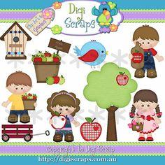 Apple Fritter Kids Digital Clip Art set - Clipart scrapbooking set