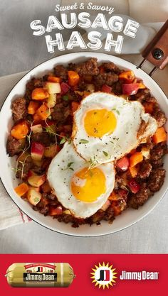 The holidays are full of flavors the best flavors. Which is why we created this easy recipe for Maple Sausage Sweet Potato and Caramelized Apple Hash made with Jimmy Dean Premium Pork Sausage. It's packed with a sweet and tasty twist on a traditional di Breakfast And Brunch, Breakfast Dishes, Healthy Breakfast Recipes, Brunch Recipes, Paleo Recipes, Healthy Snacks, Dinner Recipes, Healthy Eating, Cooking Recipes