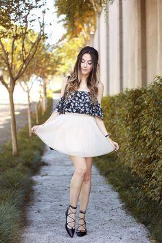 FashionCoolture - 19.04.2016 look du jour Ivyrevel floral top tulle skirt lace up flats (1)