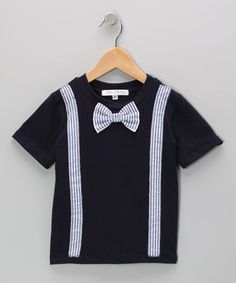 Love this Navy Bow Tie & Suspenders Tee - Infant, Toddler & Boys by mini scraps on #zulily! #zulilyfinds