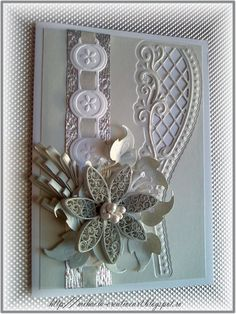 Lovely quilled, embossed card - Handmade by Mihaela