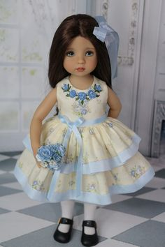 American Doll Clothes, Girl Doll Clothes, Doll Clothes Patterns, Girl Dolls, Dolls Dolls, Little Girl Dresses, Flower Girl Dresses, Doll Fancy Dress, American Girl Diy