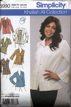 Khaliah Ali Collection - Blouse pattern, Simplicity 3990, Plus Sizes, Women's sizes 18W-24W
