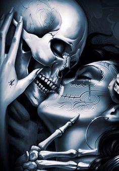 Our wedding 1 Our wedding 1 Skull Couple Tattoo, Skull Rose Tattoos, Skull Girl Tattoo, Skull Sleeve Tattoos, Skeleton Tattoos, Body Art Tattoos, Art Chicano, Cholo Art, Skeleton Love