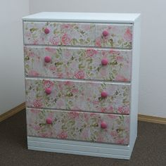 Ruffles and Roses: Upcycled Dresser using decorative paper - Tutorial!