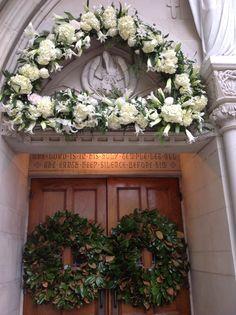 Church Door Wreath Church Entrance Arrangement Melissa Kendall Floral www.melissakendall.com