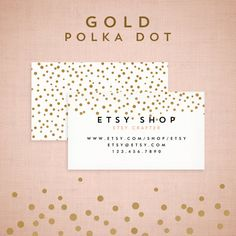 Premade Business Card Design - Gold Polka Dot Collection. $15.00, via Etsy.
