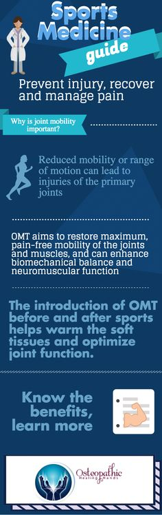 In sports medicine, osteopathic manipulative treatment (OMT) can help increase the overall mobility of joints to help avert injury and pain.