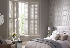 shutters in bedroom are one of my favorite things ~ this is perfectly restful room