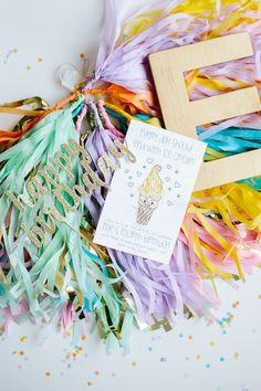 Invitation and decor from Confetti Inspired Ice Cream Birthday Party at Kara's Party Ideas. See more at karaspartyideas.com!