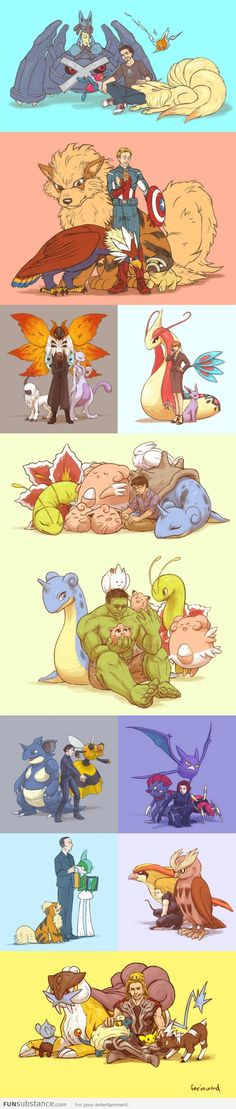 This is adorable. Avengers Pokemon Assemble!