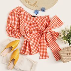 One Shoulder Gathered Sleeve Gingham Belted Top Cute Preppy Outfits, Really Cute Outfits, Girly Outfits, Pretty Outfits, Beautiful Outfits, Cool Outfits, Casual Outfits, Korean Fashion Dress, Kpop Fashion Outfits