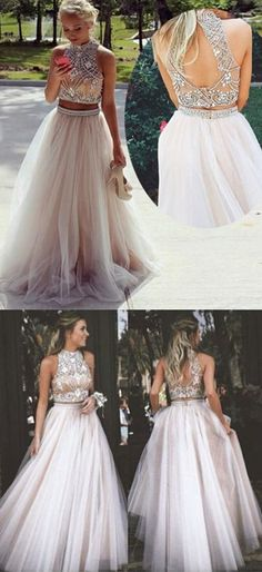 Prom Dress Princess, Elegant Two Piece High Neck Beads Long Prom Dress Evening Dress with Open Back Shop ball gown prom dresses and gowns and become a princess on prom night. prom ball gowns in every size, from juniors to plus size. Open Back Prom Dresses, Prom Dresses 2018, Backless Prom Dresses, Formal Evening Dresses, Bridesmaid Dresses, Dress Formal, Prom Gowns, Formal Prom, Formal Gowns