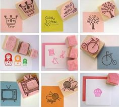 There are so many things that you could do with rubber stamps! From carving your own to getting one professionally made, look at the ideas I have found for you. Diy Stamps, Homemade Stamps, Love Stamps, Make Your Own Stamp, Eraser Stamp, Diy And Crafts, Paper Crafts, Stamp Carving, Ideias Diy