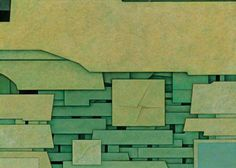 'Paisaje Verde No. 1' (1969) by Hungarian-Mexican painter, sculpture & designer Gunther Gerzso (1915-2000). Oil on masonite, 23.75 x 31.875 in. via mid-centuria