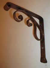primitive rustic scroll style hand forged wrought iron shelf brackets