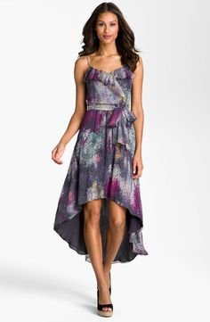 Suzi Chin for Maggy Boutique Ruffle Trim High/Low Chiffon Dress