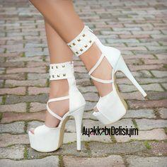 Jenıfır Beyaz Zımbalı Platform Topuklu Ayakkabı, gelin ayakkabısı #bridal #shoe #heels