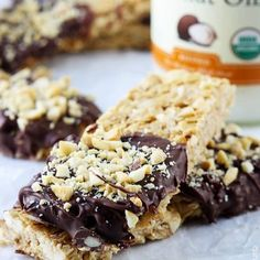 Chocolate Dipped Cashew Granola Bars