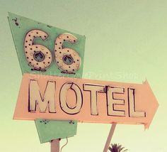 Route 66 Vintage Motel Neon Sign Travel by ShutterLovePrintShop