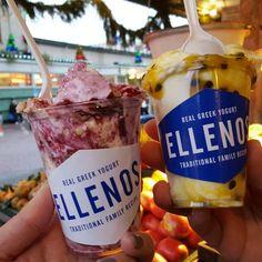 Ellenos Real Greek Yogurt - Seattle, WA, United States. Left: marionberry pie Right: passionfruit