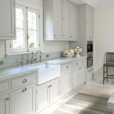 Kitchen Plan: light gray cabinets, farm house sink, same hardware as now, extra thick silestone Lagoon counters. (white subway tile backsplash?)