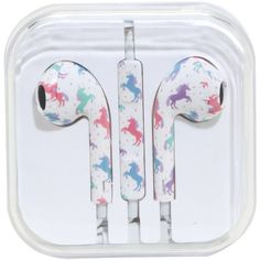 Pastel Unicorn Print Earbuds ($7.12) ❤ liked on Polyvore featuring accessories, tech accessories and earphones earbuds