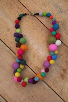 Merino hand rolled felt ball necklace