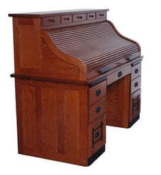 Amish Standard Mission Roll Top Desk With Drawers