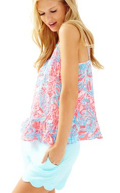 CORAL TOP - PINK SUN RAY SUMMER SIREN BY LILLY PULITZER