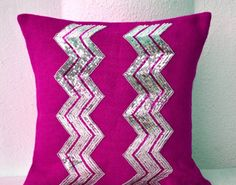 Fuchsia Burlap Pillow Cover with Silver Sequin Embroidery in Chevron Pattern - Decorative Cushion Cover- Throw Pillows (18 x18) Amore Beaute http://smile.amazon.com/dp/B00ENLJBAC/ref=cm_sw_r_pi_dp_LOf6vb1A1ACPB