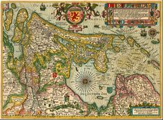 Antique map of Holland by P. Kaerius (Van der Keere), oriented to the West, 1617.