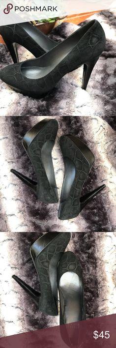 Stuart Weitzman suede croc print platform heel Super cute Stuart Weitzman suede black heel with crock print. Platform bed of shoe and stiletto type heel. Note photo for blemish on inside of platform. Doesn't effect wear and not noticeable when worn. Stuart Weitzman Shoes Heels