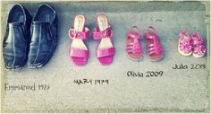 shoes and new baby announcement