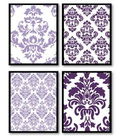 Purple White Vintage Damask Art Set of 4 Prints Home Decor Wall Art Living Room Kitchen Bedroom Bathroom Wall Decor Modern Abstract Retro