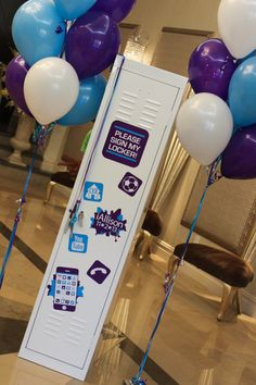 Sign in Boards · Party & Event Decor · Balloon Artistry Locker Signs, Locker Organization, Purple Party, Bar Mitzvah, Sign I, Event Decor, Special Day, Lockers, Balloons