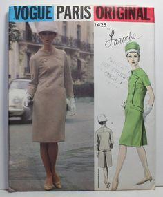 VTG 1960's VOGUE LAROCHE PARIS 1pc. DRESS SEWING PATTERN 1425 SZ 12